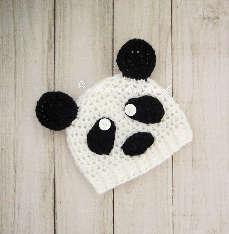 Panda hat for baby - Infant Crochet Hat for Newborn to 12 Months, Great as an Baby Shower Gift for boys or girls!! by Amaiahandmade on Etsy
