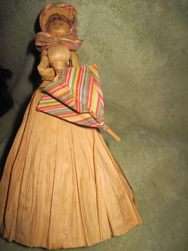 Old Corn Husk doll eith braided hair Free P&I US buyers