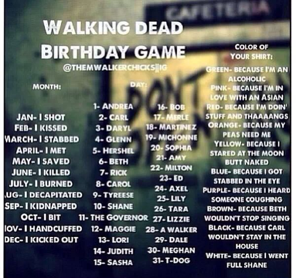 """Walking Dead Birthday Chart """"I stabbed Meghan because I'm an alcoholic."""""""