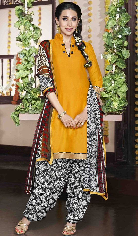 USD 30.25 Karisma Kapoor Yellow Cotton Satin Punjabi Suit 47609