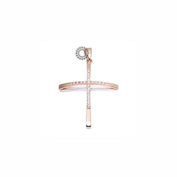 Λεπτός μοντέρνος βαπτιστικός σταυρός για κορίτσι από ροζ χρυσό Κ18 με διαμάντια σειρέ σε υπερυψωμένη καμπύλη | Σταυροί βάπτισης ΤΣΑΛΔΑΡΗΣ στο Χαλάνδρι #διαμάντια #μπριγιάν #βαπτιστικός #σταυρός #κορίτσια
