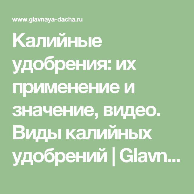 Калийные удобрения: их применение и значение,  видео. Виды калийных удобрений | Glavnaya-dacha.ru