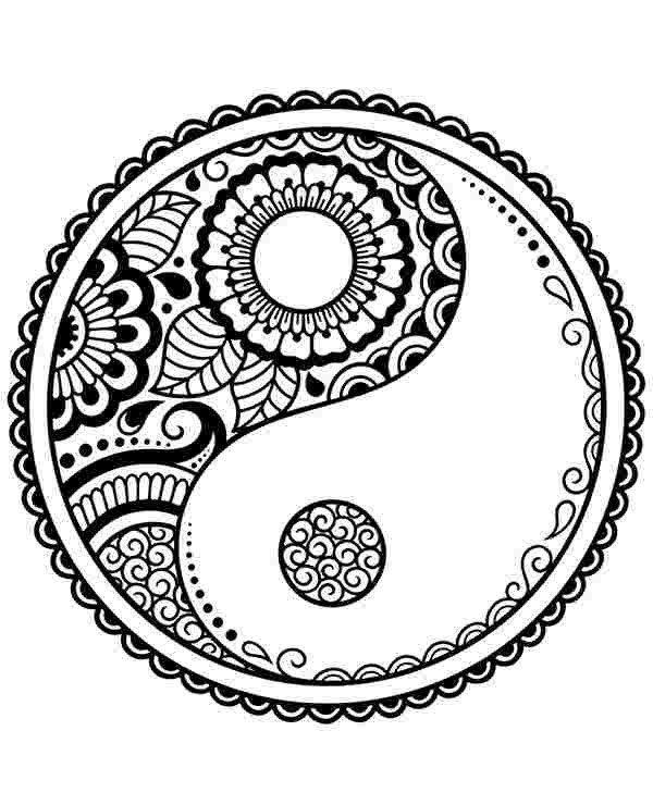 Yin Yang Mandala Coloring Pages Yin Yang Mandala Coloring Pages Ying Yang Symbol Printable In 2020 Mandala Symbols Mandala Coloring Pages Yin Yang
