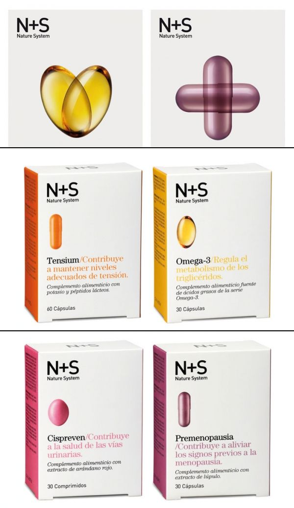 Packaging system for Cinfa's N+S Dietary Supploments. Each item is color coded, clearly marked and showed a photo of the supplement pill. http://www.thedieline.com/blog/2012/10/12/ns-nature-system-dietary-supplements.html