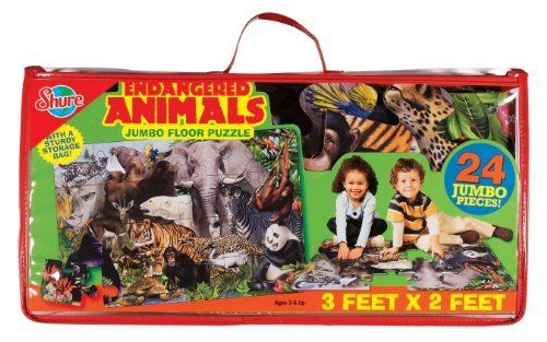 T.S. Shure Endangered Animals Floor Puzzle by Shure Products. $11.79. Learn about endangered animals with this jumbo floor puzzle. Stores easily in clear, vinyl carrying case with handle. Oversized, durable, glossy pieces printed with colorful, hand-painted artwork. 10' x 2' jumbo floor puzzle. Ages 3 and up. From the Manufacturer                Have fun learning about endangered animals with this 3' x 2' jumbo floor puzzle. Oversized, durable, glossy pieces printed ...