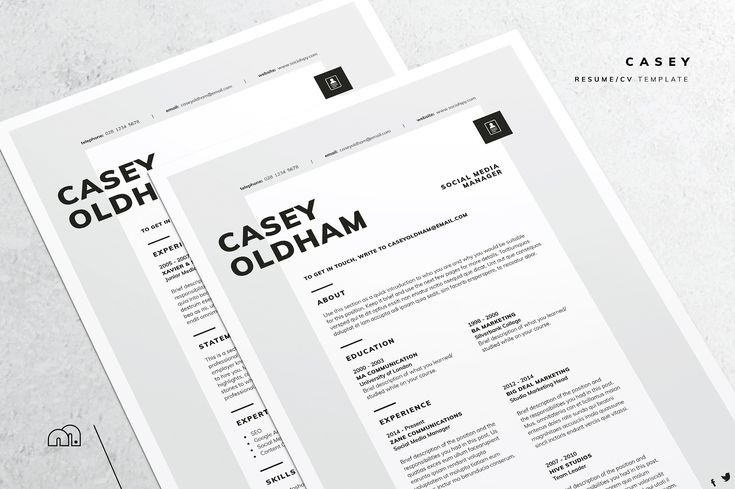 Resume/CV - Casey by bilmaw creative on @creativemarket All artwork and text is fully customisable; Easily edit the typography, wording, colors and layout. Each template uses a strong baseline/document grid which will allow you to edit or add to the layout very easily. #resume #cv #template