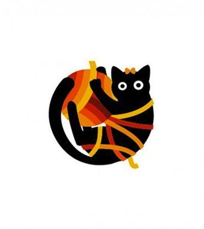 Rukodelnitsa - cat logo by Minsk studio 01D for a craft supplies store (designers Alexander Lanevski, Dmitry Ulasen)