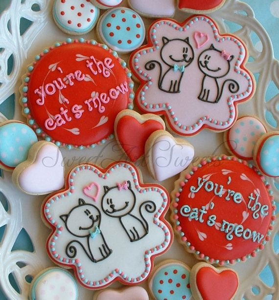 Love cookies - You're the cat's meow! Valentine's day cookies.