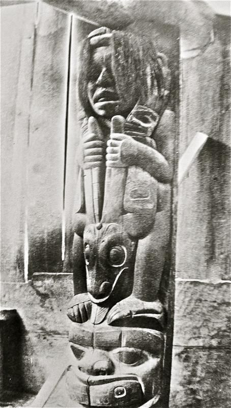 The Black Skin Post (Dukt'ootl Gass) represents the famous Tlingit hero, Dukt'ootl. The event took place in a village long before the Ganaxteidi moved north to Klukwan. <br><br>  The human figure at the top of the post represents Dukt'ootl', the strong man. The sea lion forms the central part of the post. His tongue hanging out represents its death as the body is split in half. The face at the base of the pole represents a rock island on the west coast of Prince of...