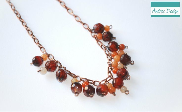Red semiprecious agate necklace with copper accessories