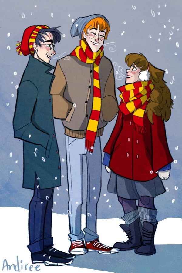 The Golden Trio snickering in the snow