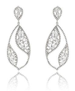 brinco luxo cristal com zirconias baguetes e banho de rodio semi joias online