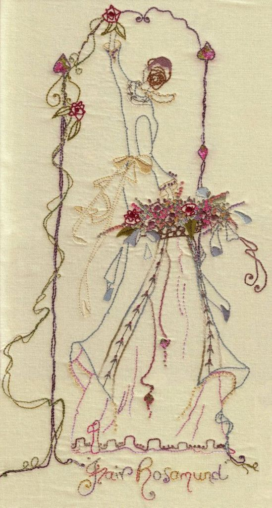 Fair Rosamund #cottage-garden-threads #iron-on-transfers #stem-stitch