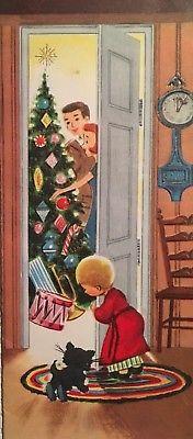 VINTAGE MID CENTURY USED CHRISTMAS CARD BOY & HIS KITTEN SNEAK A PEEK