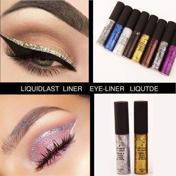 2017 Trucco Occhi Liner Liquido di Colore Cosmetici del Pigmento Bianco Oro Metallico Impermeabile Ombretto Glitter Eyeliner Matita di Colore