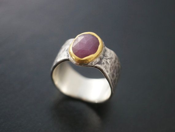 pink sapphire statement ring, size 9.25, raspberry red sapphire, 24K gold, organic design, rough stone, large ring, cocktail ring, unique