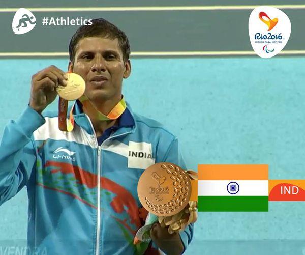 Congrats! #DevendraJhajharia wins Gold medal in #Javelin at #Rio2016 #Paralympics.
