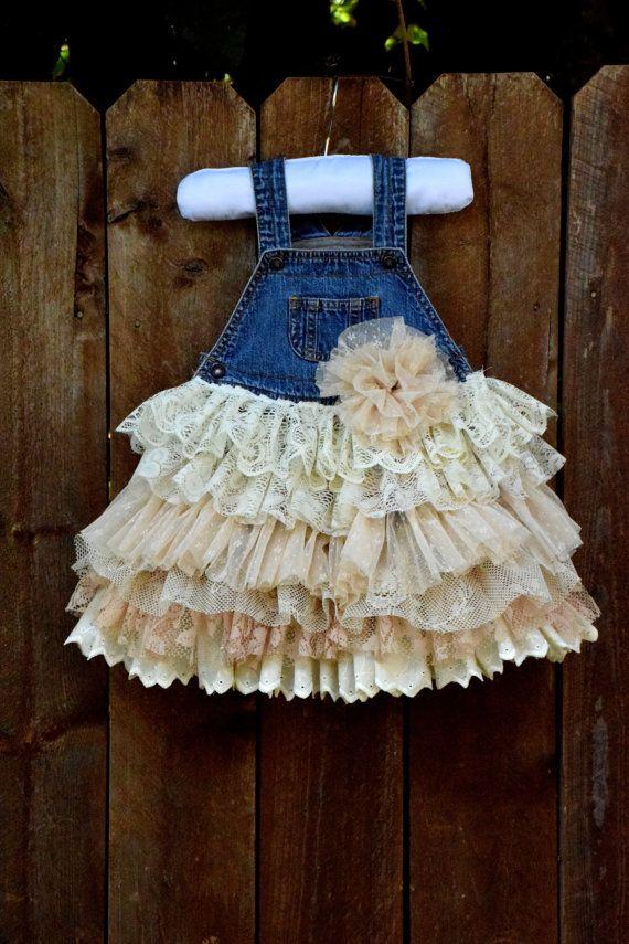 denim vintage linen and lace flower girl by VintageBabyLace