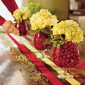 Hydrangeas and cranberries make a pretty centerpiece at Christmas.