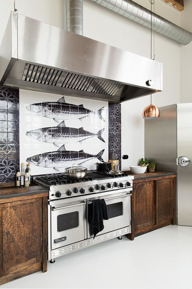 kitchen fish tile wall