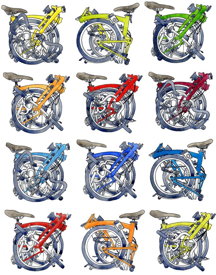 Brompton bicycle prints, drawings & water colours celebrating the Brompton Bicycle by Illustrator & print maker Diana Powell.