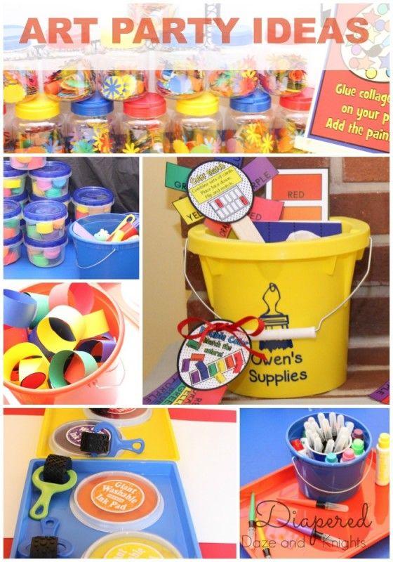 Creative ideas for an art-themed kid party.