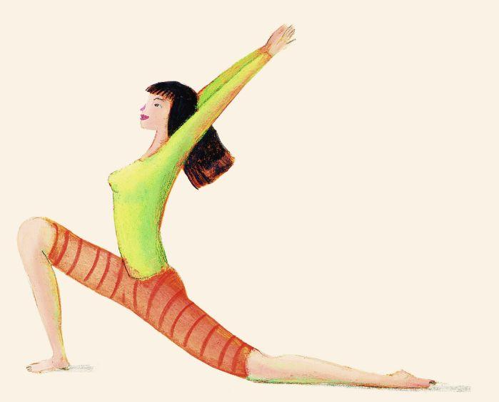 La scimmia. Carponi, portare un piede tra le mani, staccare le mani dal suolo, trovare l'equilibrio in appoggio su un piede e un ginocchio. Inspirando spingere il bacino verso terra, sollevare le braccia tese sopra il capo e inarcare il busto guardando verso l'alto come una scimmia pronta a balzare su un ramo. Ripetere portando avanti l'altro piede. La posizione della scimmia rende elastica la colonna, snellisce i fianchi, rafforza il bacino, migliora la respirazione.