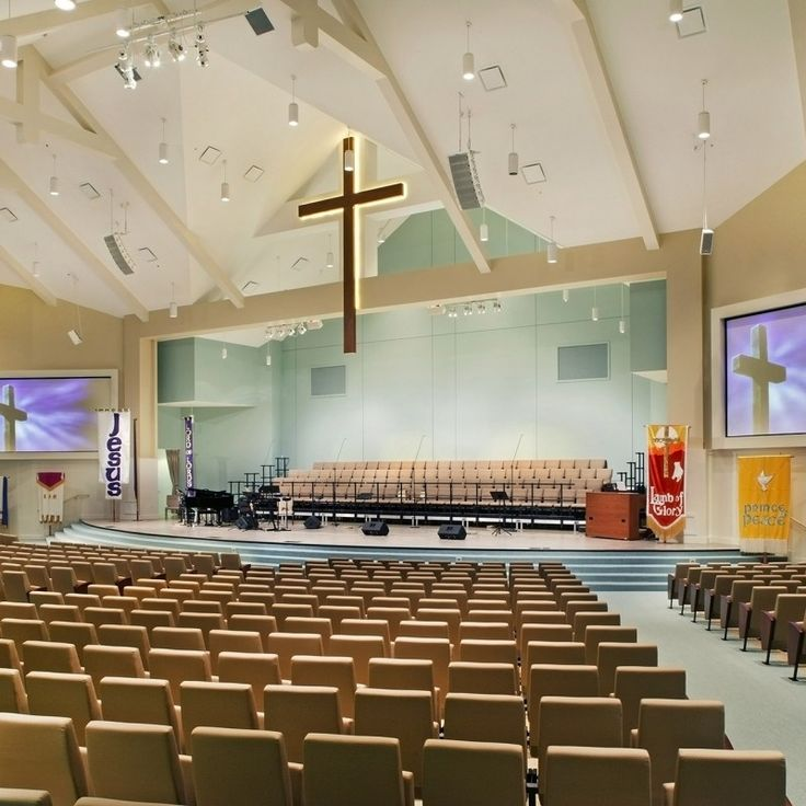 Worship Center Is Light And Bright With Sea Glass Color