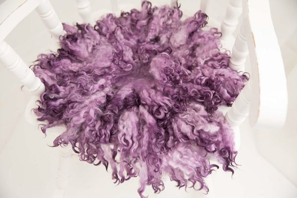 Image of MADE TO ORDER - PURPLE - PREMIUM curly wool felted layer - newborn photo PROP - FLOVELIES