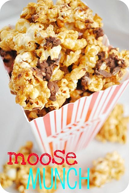 {DIY} Moose Munch  6 tbsp. butter  3 tbsp. corn syrup  3/4 c. brown sugar  1/4 tsp. vanilla  1/4 tsp. baking soda  1 1/2 – 2 bags popped popcorn  chocolate chips, nuts, M, etc. to taste  - See more at: http://www.somethingswanky.com/diy-moose-munch/#sthash.ZATFoiMv.dpuf