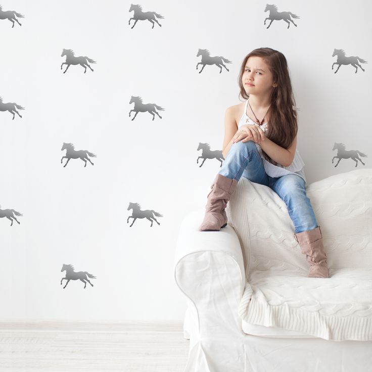 32 silver metallic equestrian horse removable vinyl wall decals. Gold and silver are such lovely accents! We also carry this design in black and white vinyl. A perfect gift for the horse lover! Dimens