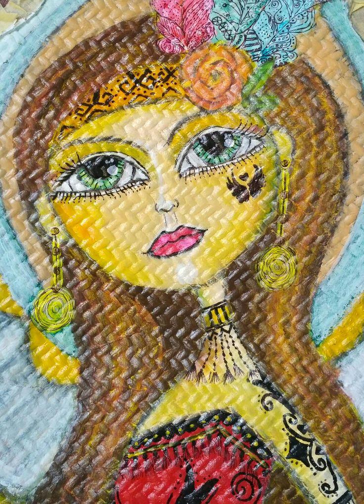 Borneo Woman. Mahitala whimsical painting.