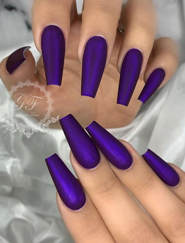 67 Stunning Dark Blue Nail Designs Purple Acrylic Nails Colorful Nail Designs Coffin Shape Nails