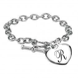 Stainless Steel Women's Heart Personalized Bracelet (25x33mm). $22.50
