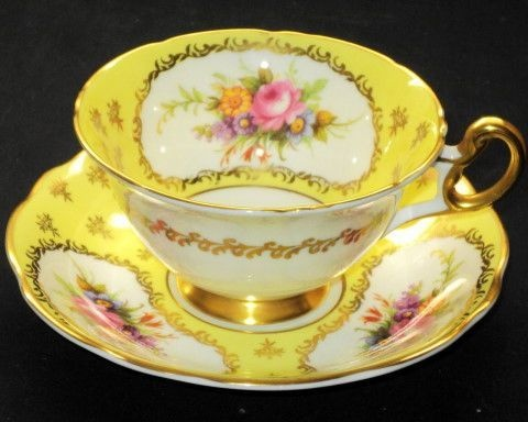 EB Foley England Pink Rose Bouquet Yellow Gold Wide Tea Cup and Saucer | eBay