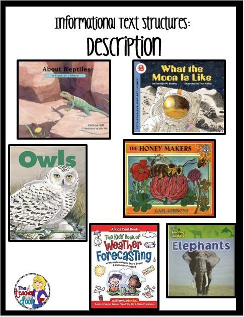 Mentor texts for informational text structures; Description. Lots of tips too, to help you teach informational text structures in your classroom.