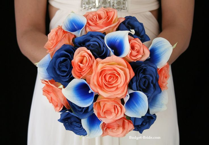 red instead of Coral and blue wedding flowers.  Complete wedding flower package with Bride, Maid of Honor, Throw Bouquet, Groom and Bestman for only $300