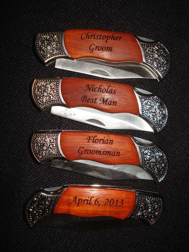 Wedding Favors They Might Actually Want --- Personalized Engraved Pocket Knives