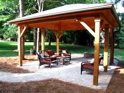 back yard pavilion plans 11 cedar outdoor pavilion backyard - Patio Pavilion Ideas