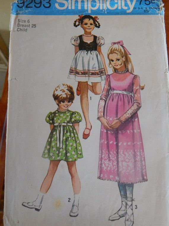 Simplicity 9293 vintage 1970's girls dress