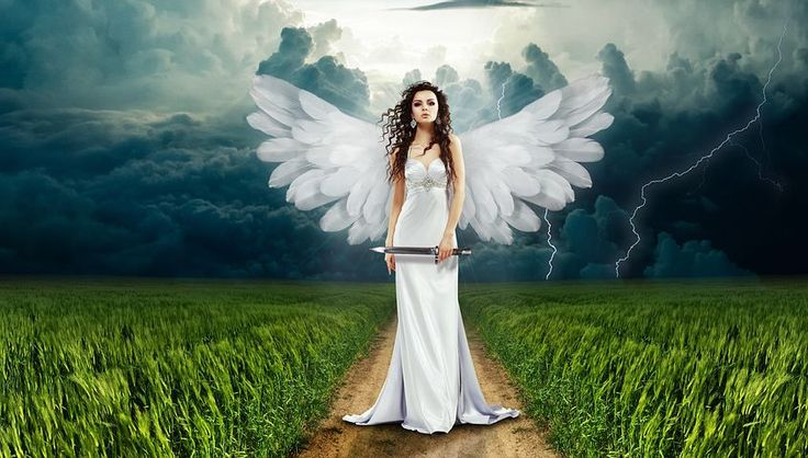 Angel, Knife, Nature, Flash, Clouds