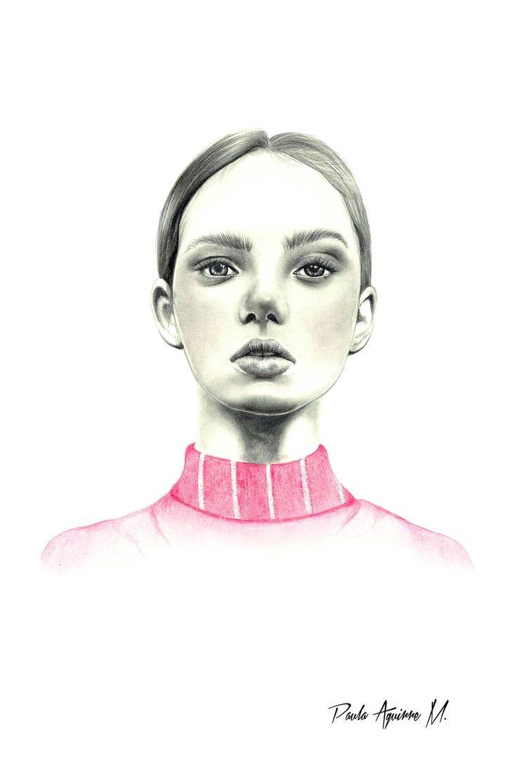 """""""Pink sweater"""" dibujo hecho con grafito y lápices de colores"""