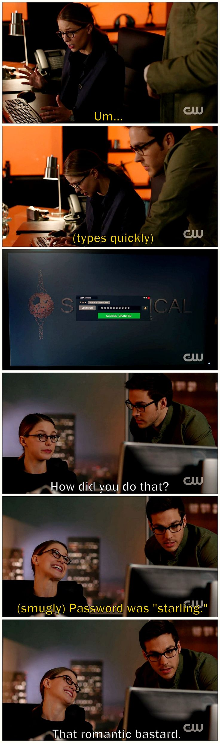 """""""That romantic bastard."""" And my favorite line (arguably, b/c""""mannection"""") of Supergirl 2x18 belongs to Mon-El. Lol, I love this cute & wacky duo working together. This kind of comedy is what S1 was missing & it makes me so happy. This scene reminds me of Veronica Mars, Nancy Drew, Scooby Doo, etc. Kara and Mon are adorably awesome.