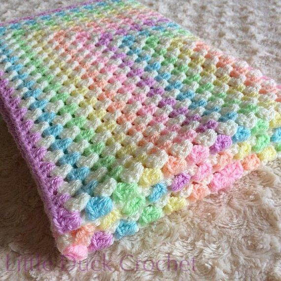 """HandMade Crochet COMFORTER Baby Blanket Security Blankie WHITE 29cm//11.5/"""""""