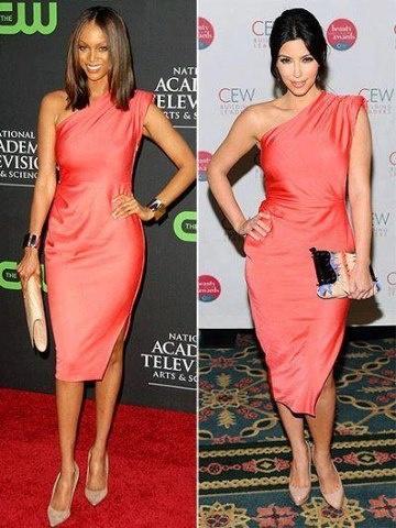 Tyra Banks and Kim Kardashian sporting the same one shoulder dress!