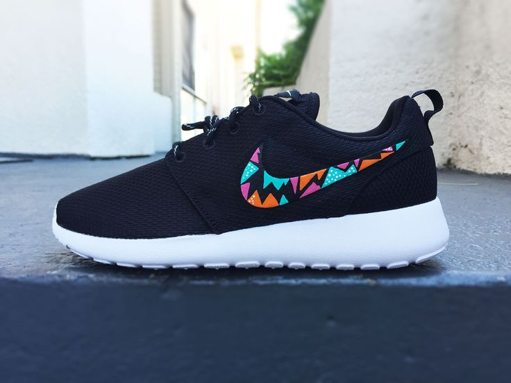 Womens Custom Nike Roshe Run sneakers, triangle tribal design, hot pink,  teal and