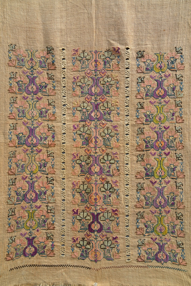 Antique 1850 Ottoman Tulip Embroidery Tapestry antique Ottoman Greek Tulip embroidery, 30 x 18 inches.
