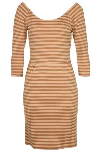 TAN/NUDE PRINT 3/4 SLEEVE LADIES DRESS