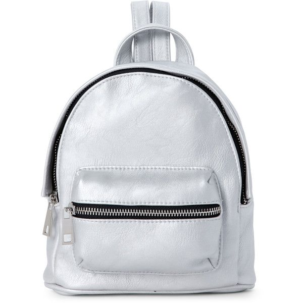 Madden Girl Silver Port Mini Backpack ($33) ❤ liked on Polyvore featuring bags, backpacks, metallic, miniature backpack, zipper bag, backpack bags, day pack backpack and metallic backpack