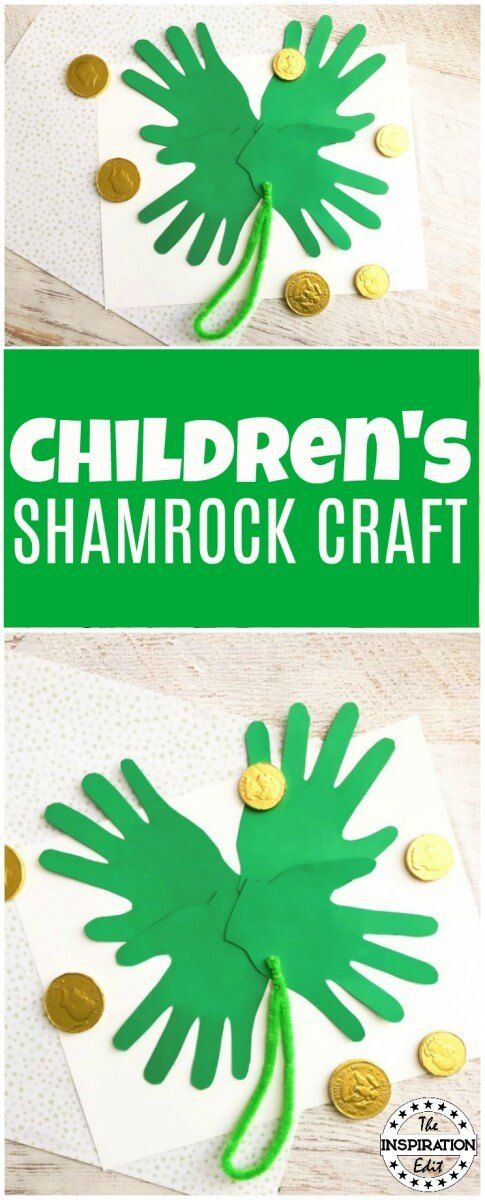 Saint Patricks Day Shamrock Craft For Kids. A Fantastic preschool activity your kids will enjoy --> On The Inspiration Edit.. visit for plenty of crafty ideas. #saintpatricksday #crafting #Craftwithkids #preschool #preschoollearning #homeschooling #artsandcrafts #papercrafting